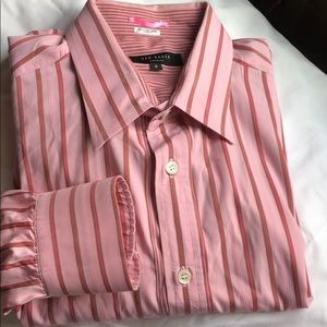Ted Baker London button down dress shirt in pinks